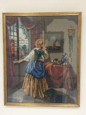 Cross Stitch Tapestry Picture Vintage Retro Framed Victorian Edwardian Style