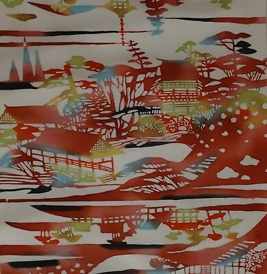 Japanese vintage kimono silk fabric Hand Stencilled Temples and Houses