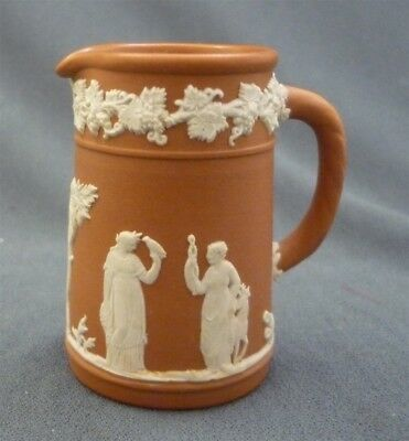 Miniature c1958 Wedgwood Cream & Taupe Brown Jasperware Jug Pitcher Porcelain