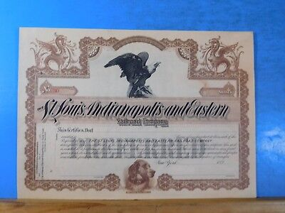 Stock certificate St Louis Indianapolis and Eastern Railroad Company #30 . 1890â