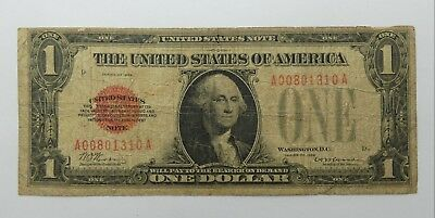 BARGAIN Series of 1928 $1 Red Seal US Note VERY GOOD Fr#1500
