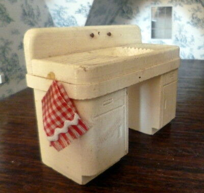Vintage Art Deco Wooden Sink Dollhouse Miniature From Museum