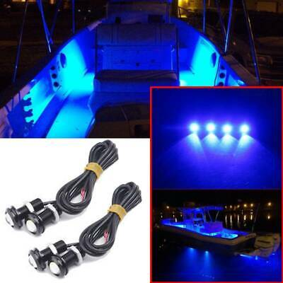 4x Blue LED Boat Lights Waterproof Outrigger Spreader Transom Under Water Troll