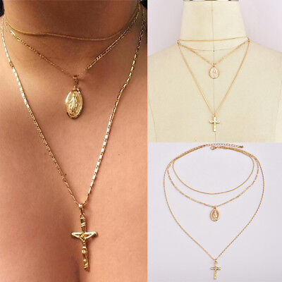 1pcs Virgin Mary Cross Necklace Multilayer Chain Triple Pendant Choker Jewelry
