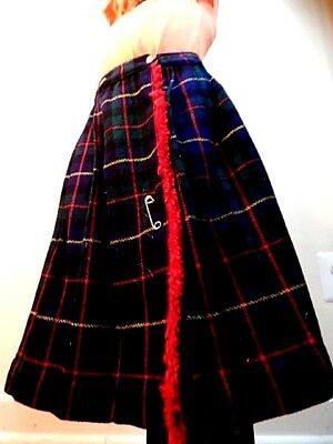 Vintage 1960s Winter Wool Navy Tartan Plaid Skirt Kilt Pin School Girl Uniform