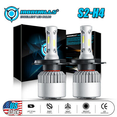 H4 COB 2000W LED Bulb HID White 360° High Low Beam Motorcycle Headlight 6500K 2x