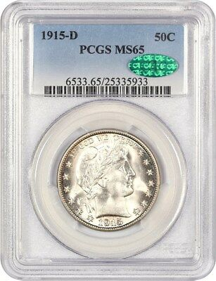 1915-D 50c PCGS/CAC MS65 - Nice Type Coin - Barber Half Dollar - Nice Type Coin