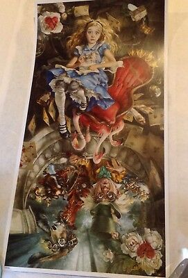 Alice in Wonderland Disney Art Lithograph Poster Print Heather Theurer Signed