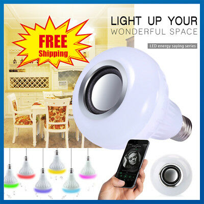 B22/E27 Wireless Smart Bulb WiFi LED Light Speaker Music Playing Lamp W/ Remote