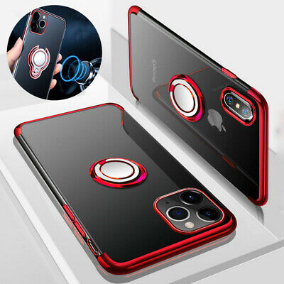 For iPhone XS Max XR Magnetic Ring Holder Plating Soft Rubber Hybrid Clear Case