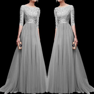 UK Women Chiffon Lace Formal Bridesmaid Evening Party Maxi Dress Prom Long Gown
