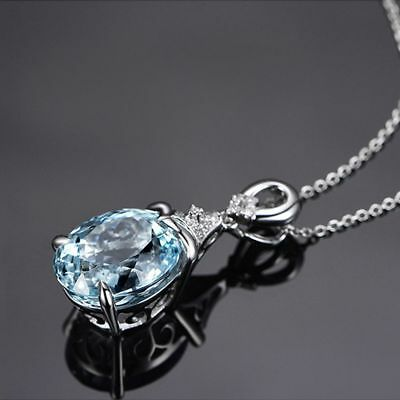 Vintage Gemstone Silver Natural Chain Aquamarine Jewelry Pendant Necklace JT