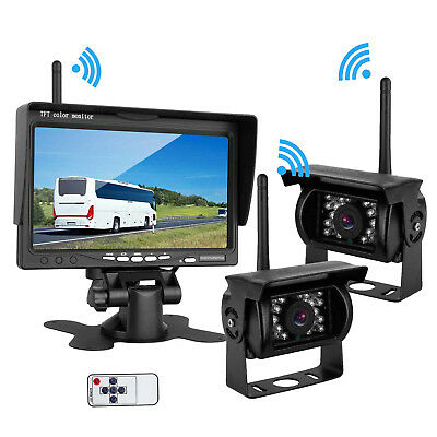 """2x Wireless Rear View Back up Camera System+7"""" Monitor F Truck RV Bus Car 12-24V"""