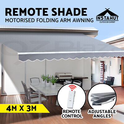 Instahut Motorised Folding Arm Awning Retractable Outdoor Pearl Sunshade 4X3M