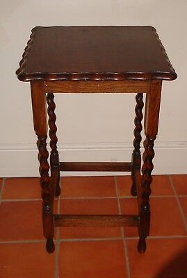 Vintage Wooden Oak Tall Side Hall Table Barley Twist Legs Pie Crust Top