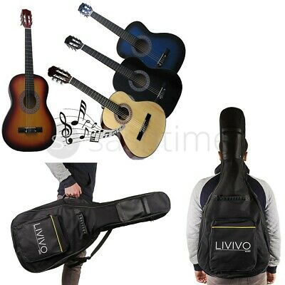 "3/4 Size 36"" Acoustic Guitar & Guitar Bag Case Cover For Students 6 Nylon String"