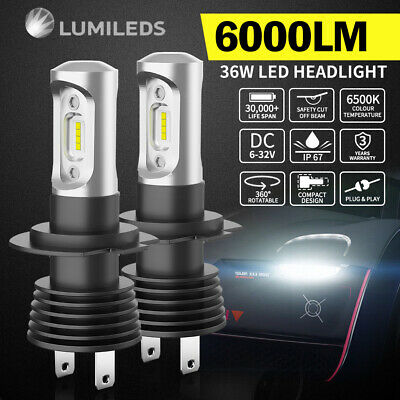 Pair Philips H7 12000LM LED Headlight KIT White Beam Replace Xenon Halogen Globe
