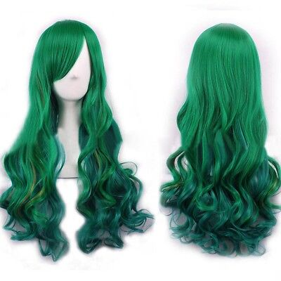 Women Fashion Lady Long Curly Wavy Hair Party Cosplay Full Wig Green