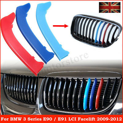 M Color Sport Kidney Grille Grill Strip Cover Clip Trim For BMW 3 Series E90
