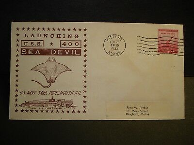USS SEA DEVIL SS-400 Naval Cover 1944 WWII Launch Cachet KITTERY, MAINE