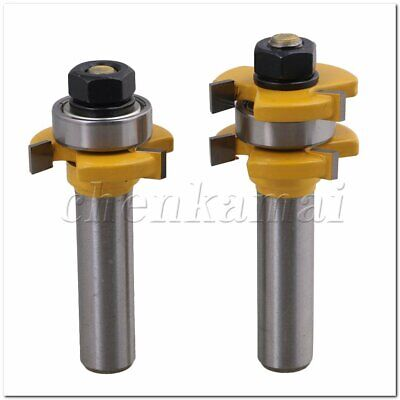 """2pcs Cemented Carbide 3 Wing Tongue Groove Router Bit 1/2"""" Shank Dia"""