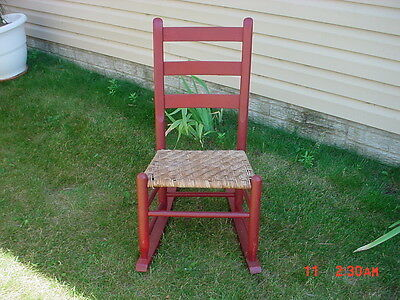 Antique Primitive Wooden Rocker Rocking Chair Old Red Paint Woven Seat