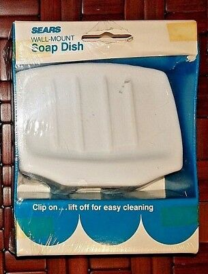 Sears Wall-Mount Soap Dish  Vintage Ceramic Porcelain White NOS
