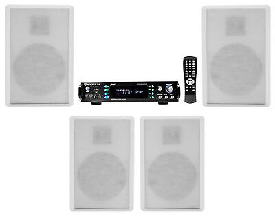"Rockville Bluetooth Receiver+(4) 5.25"" White Wall Speakers 4 Restaurant/Bar/Cafe"