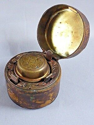 Good Antique Victorian Travelling Leather Covered Engraved Brass Inkwell