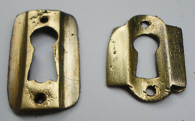 Original Antique 1930's White Brass  Keyhole Cover Escutcheon Lot of 2