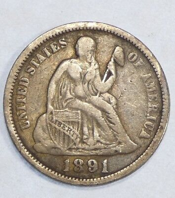 1891-O Liberty Seated Dime FINE Silver 10c ~ Last Year of Issue