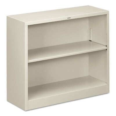 HON Metal Bookcase, Two-Shelf, 34-1/2w X 12-5/8d X 29h, Light Gray S30ABCQ NEW