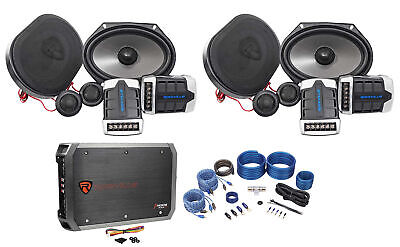 2) Pairs Rockville RV68.2C 6x8/5x7 Component Car Speakers+4-Ch Amplifier+Amp Kit