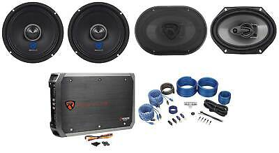 """2) Rockville RXM64 6.5"""" Mid-Bass Car Audio Speakers+6x8"""" Coaxials+4-Ch Amp+Wires"""