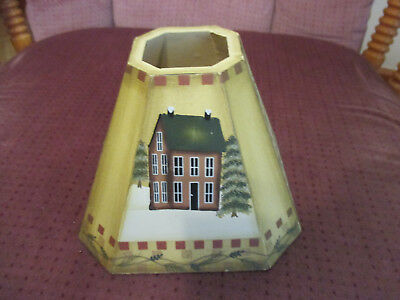 "Vintage Arts And Crafts Lamp Shade Bless Our Home 4"" T x 1 1/2"" fitter"