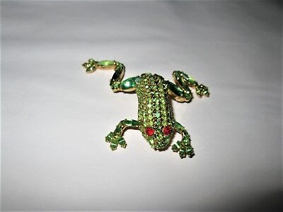 """BAUER Rhinestone Frog Pin Brooch Jewelry (BLING + Sparkly) BEAUTIFUL 2.25"""""""