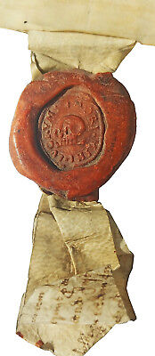 1632 Indenture - SKULL HEAD SEAL - KINGS LYNN - Captain Vancouver Birthplace