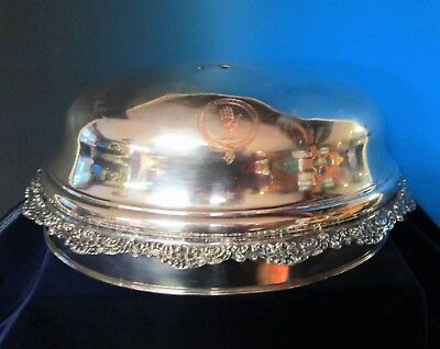 Silverplate Platter Dome Woodroffe Family Crest Ireland Open Hand in Circle