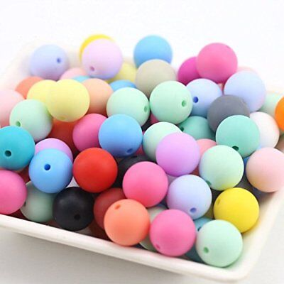 15mm Silicone Beads Round Loose Organic Nusring Jewelry Baby Teething Balls 50pc