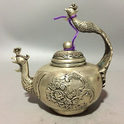 Ancient Chinese Rare Tibet Silver Handwork Phoenix Collectible Old Teapot