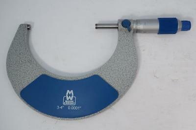 """New Moore & Wright 3-4""""  Micrometer. .0001"""" Grad. Carbide Faces c/w Standard"""