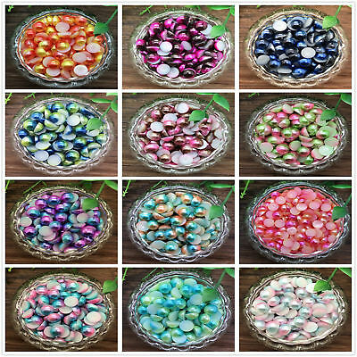 500x 4mm Half Round Two color Bead Flat Back Pearl Scrapbooking Embellishment SL