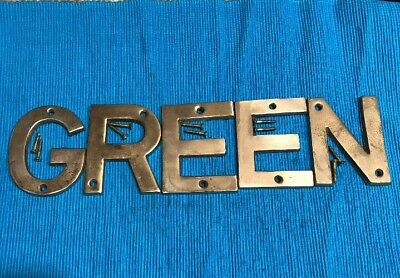 """Five Vintage Solid Brass 3"""" Letters """"GREEN"""""""