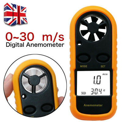 LCD Thermometer Anemometer Temperature Meter Air Wind Speed Tester Gauge Y