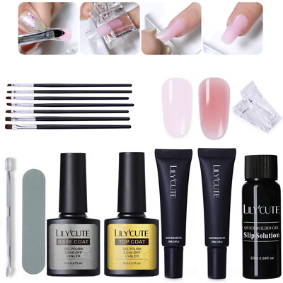 20ml Quick Poly Building Gel Nails Kits Slip Solution Brush File Manicure Set