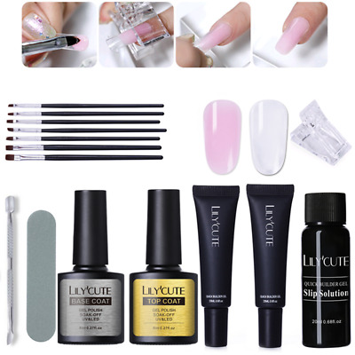 20ml Quick Poly Building Gel Nails Kits Slip Solution Brush File Extension Tools