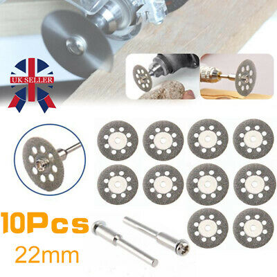 10X Mini Diamond Blade Cutting Disc Rotary Wheel Grinding +2 Mandrel Dremmel YP