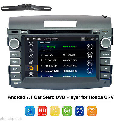 """7"""" Android 7.1 Car Stero DVD Player GPS Touch USD SD for Honda CRV Radio+Camera"""