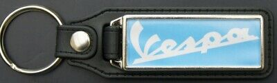 Vespa Black Leather Style Keyring with Vespa Logo (1071)