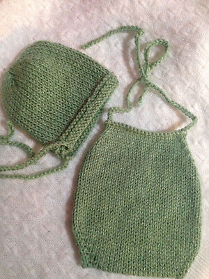 RTS! Baby newborn size knit Halterneck romper and bonnet hat in lovat green,
